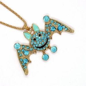 Jewelry - New Aqua Crystal Enamel Bat Goth Pendant Necklace
